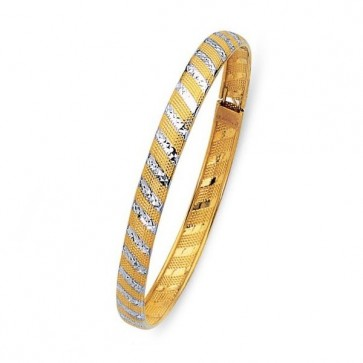 14K two tone fancy bangle EJB14609