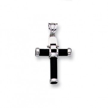 14K white black rubber cross EJCR15815