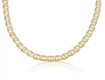 14K Yellow Gold 7mm Concave Mariner Chain 20 inches