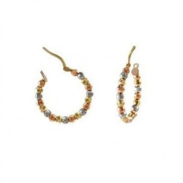 14K tricolor D/C bead hoop earrings EJER22922