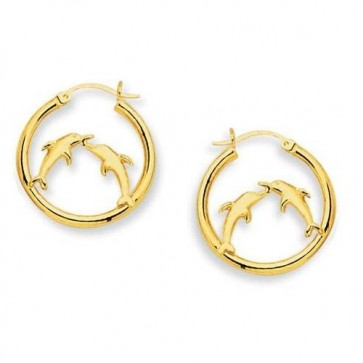 14K dolphin hoop earrings EJER23518