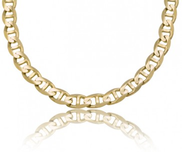 14K Yellow Gold 9.5mm Concave Mariner Chain 24 inches