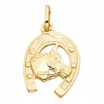 14K yellow Horse shoe charm EJCM26522