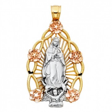 14K tricolor Virgin of Guadalupe pendant EJM28529