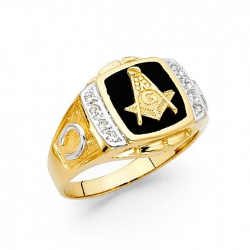 14K yellow gold Onyx Masonic ring EJMR29422