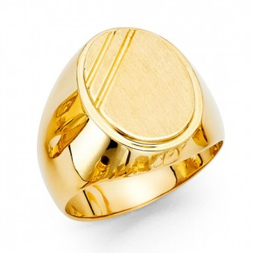14K Yellow Oval Signet Ring EJMR29807
