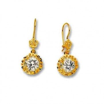 14K CZ Dangle Earrings EJER29938E