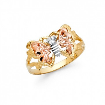 14K tricolor Butterfly ring EJLR30417