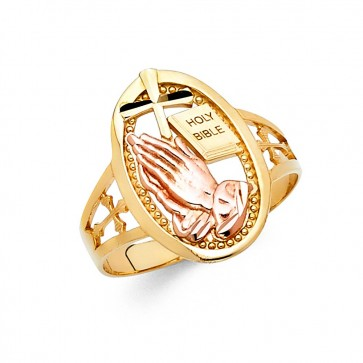 14K tricolor Praying Hands ring EJLR30533