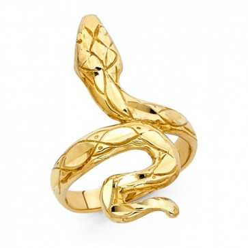 EJLR30650 - Solid 14K yellow gold Snake ring with diamond cut accents