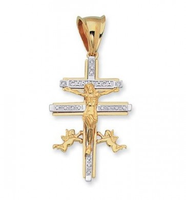 14K yellow & white CaraVaca crucifix EJCR33707