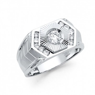 14K White Gold CZ Signet Ring EJMR34120