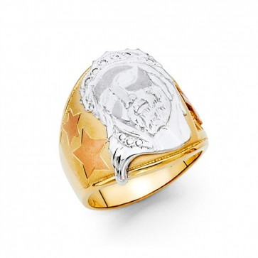 14K Tricolor Gold Jesus Ring EJMR34311