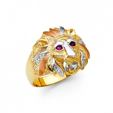 14K Tricolor Lion Ring EJMR34316