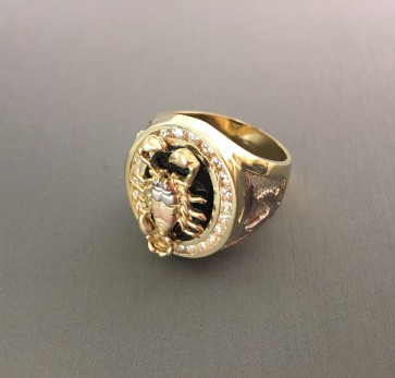 14K tricolor Scorpion Onyx Ring EJMR34412