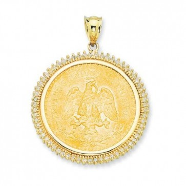 14K Gold CZ Bezel for 22K Mexican 50 Pesos Coin EJCM34902