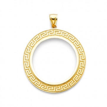 14K Greek Key bezel for Mexican 50 Pesos EJCM34907