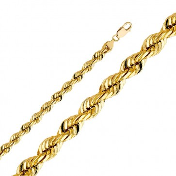 "4K Yellow Gold 8mm Rope Chain 24"" EJCM35133"