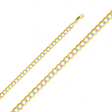 "14K Two-tone Gold 7mm Cuban Chain 26"" EJCN35433"