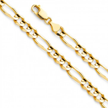 "14K Yellow Gold 6.5mm Figaro chain 22"" EJCN35605"