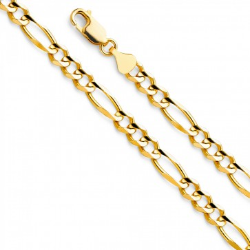 "14K Yellow Gold 5.5mm Figaro Chain 22"" EJCN35604"