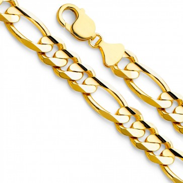"14K Yellow Gold 12mm Figaro Chain 24"" EJCN35608"