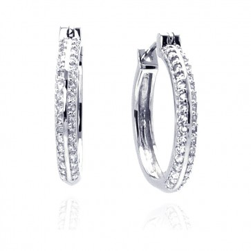 EJACE00013 - Elegant 925 Sterling Silver hoop CZ earrings