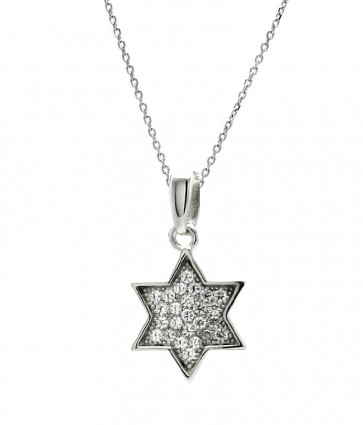 EJACP00026 - Fancy Sterling Silver Star of David CZ pendant