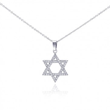 EJACP00033 - Elegant Sterling Silver Star of David pendant with CZ accents