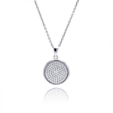 EJACP00052 - Elegant Sterling Silver Micropave CZ round pendant