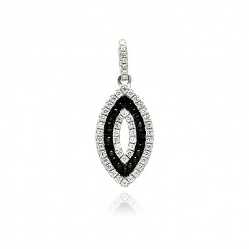 EJACP00078 - Sterling Silver Marquise pendant with black and white CZ accents