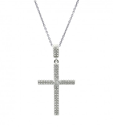EJACP00080 - Fancy Sterling Silver Cross pendant with CZ accents