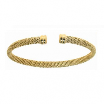 Italian 14K yellow gold mesh bangle bracelet