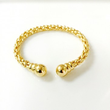 EJBAGR5002 - Italian Solid 14K yellow gold mesh ball bangle