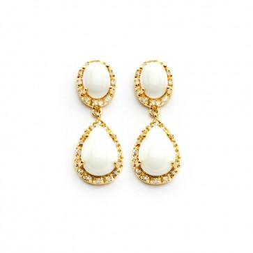 EJBGE00350 - Elegant sterling silver gold plated earrings with white stones