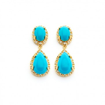 EJBGE00351 - Elegant sterling silver gold plated earrings with turquoise stones