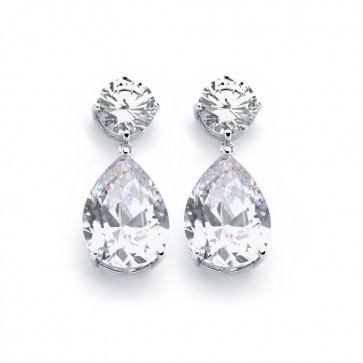 EJBGE00858C - Elegant  CZ dangle sterling silver earrings