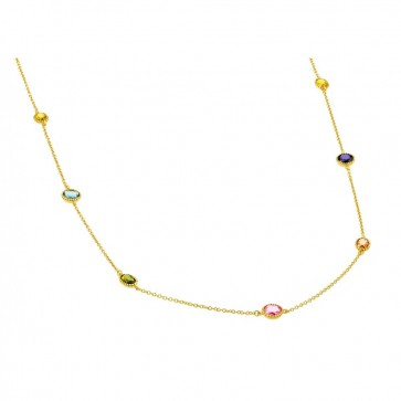 EJBGP00870 - Beautiful Sterling silver necklace gold plated  with multicolor CZ stones