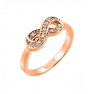 EJBGR00769RGP - Sterling silver rose gold plated  infinity ring with CZ accent