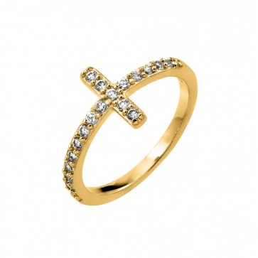 EJBGR00783GP - Elegant sterling silver Cross ring gold plated  with CZ accents