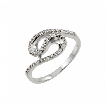 EJBGR00811 - Fancy Sterling Silver S shaped ring with CZ accents