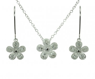 EJBGS00373 - Fancy Sterling Silver Flower CZ necklace and earring