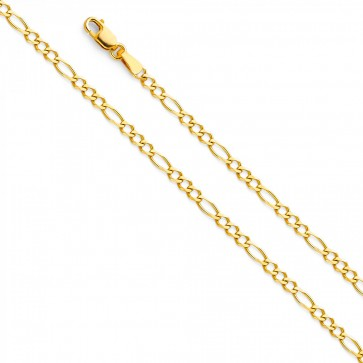 "14K Yellow Gold 2.7mm Figaro 3+1 Chain 18"" EJCN35601"
