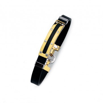 EJB15910 - 14K yellow gold design rubber bracelet with screws