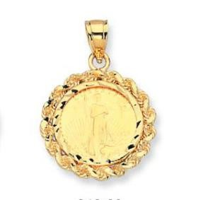 EJCM34820 - 22K 5$ American Eagle Gold Coin in 14K Diamond-cut Rope Pendant