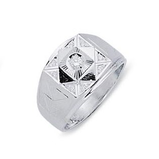 EJMR34135 - Men's 14K White Gold CZ Ring