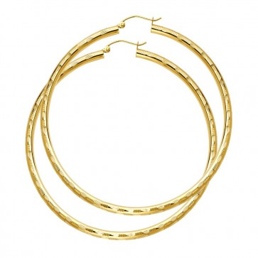 14K large D/C hoop earrings EJER1017