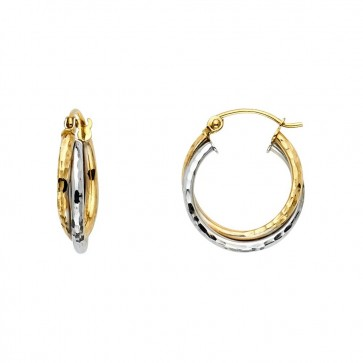 14K two tone twisted earrings EJER1060