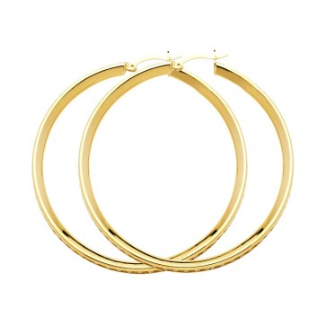 14K yellow CZ hoop earrings EJER1130