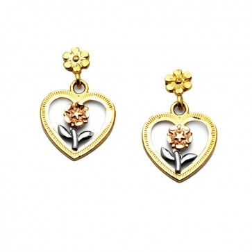 14K tricolor Heart Rose earrings EJER1361